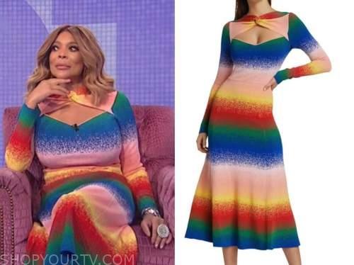 wendy williams, the wendy williams show, rainbow multicolor twist dress