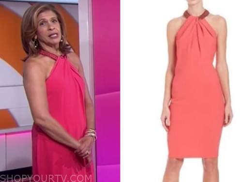 hoda kotb, the today show, pink beaded halter dress