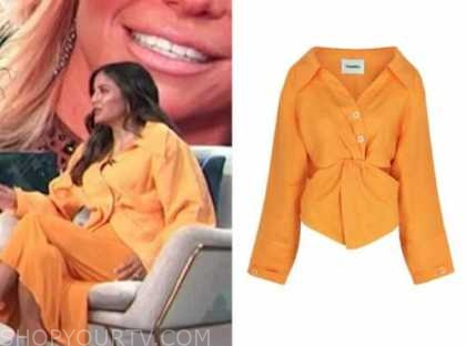erin lim, E! news, daily pop, orange linen twist shirt