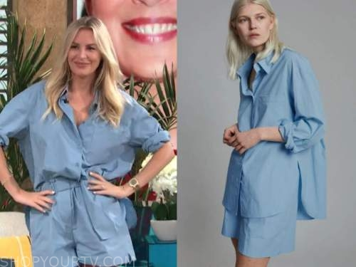 morgan stewart, E! news, daily pop, blue shirt and blue shorts