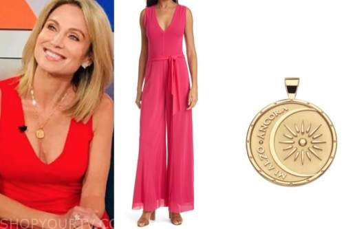 amy robach, good morning america, pink jumpsuit, gold coin pendant necklace