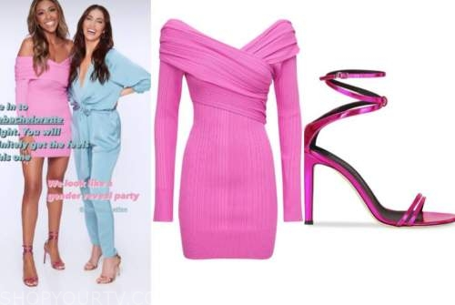 tayshia adams, the bachelorette, pink dress, pink sandals