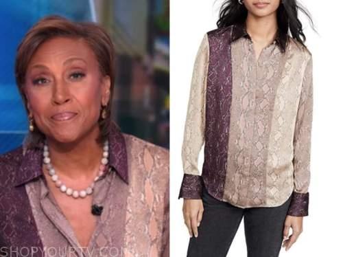 robin roberts, good morning america, snakeskin colorblock shirt