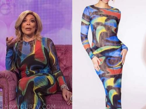 wendy williams, the wendy williams show, multicolor swirl dress