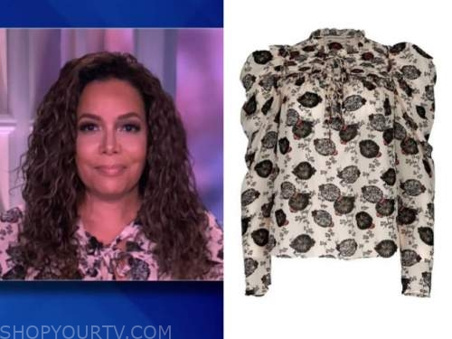 sunny hostin, the view, black and white floral top