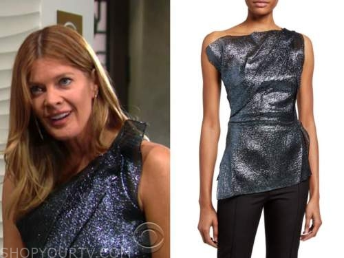 phyllis newman, michelle stafford, the young and the restless, blue metallic top