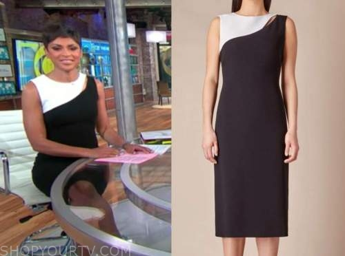 jericka duncan, cbs this morning, black and white colorblock sheath dress