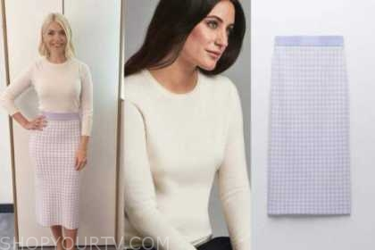 holly willoughby, this morning, white jumper, purple gingham knit skirt