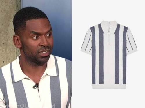 justin sylvester, E! news, daily pop, striped polo shirt