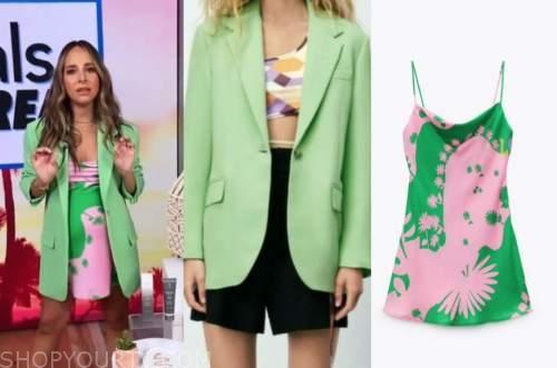 lilliana vazquez, E! news, daily pop, green blazer, pink and green dress