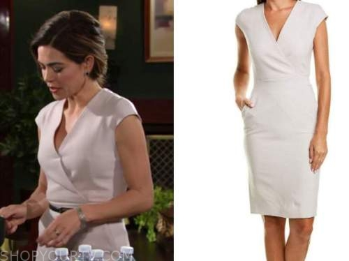 victoria newman, amelia heinle, the young and the restless, cap sleeve sheath dress