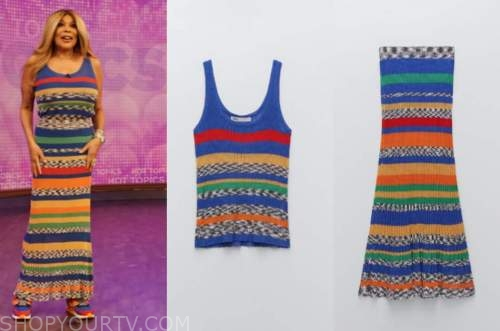 wendy williams, the wendy williams show, blue multicolor striped knit top and skirt