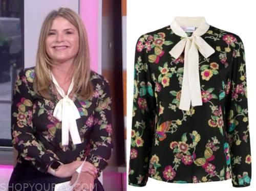 jenna bush hager, the today show, black floral tie neck blouse