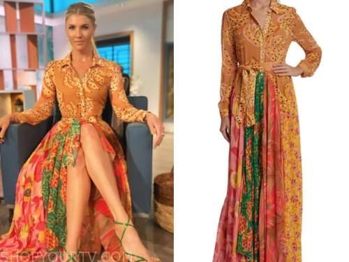 amanda kloots, the talk, mixed print maxi shirt dress