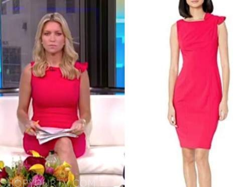 fox and friends, ainsley earhardt, pink bow shoulder dress