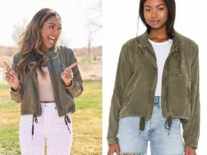 tayshia adams, the bachelorette, army green utility jacket