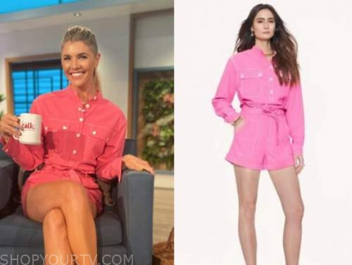 amanda kloots, the talk, hot pink shirt and shorts