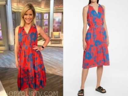 sara haines, the view, red and blue floral dress