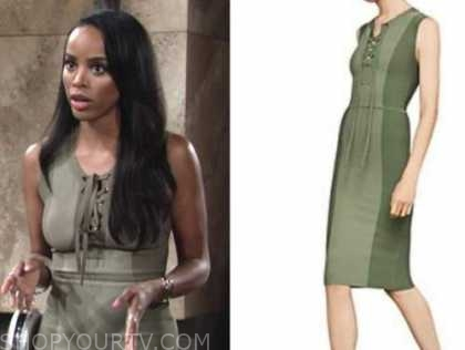 imani benedict, the young and the restless, green lace-up dress