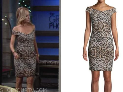 lauren fenmore baldwin, tracey bregman, the young and the restless, leopard off-the-shoulder dress