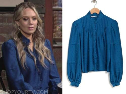 abby newman, melissa ordway, the young and the restless, blue blouse