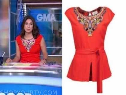 cecilia vega, good morning america, red embellished top