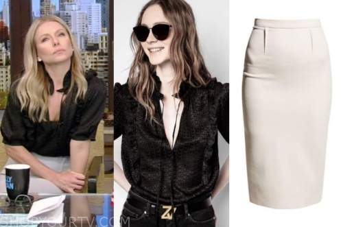 kelly ripa, live with kelly and ryan, black top, pencil skirt