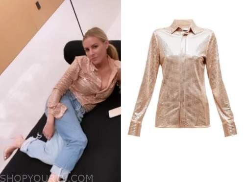 morgan stewart, instagram fashion, beige sequin shirt