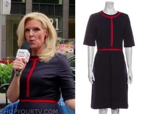 janice dean, fox and friends, navy blue and red contrast trim dress