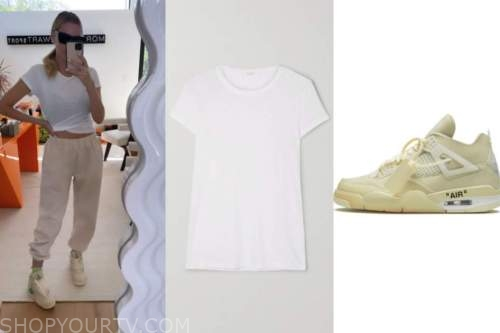 morgan stewart, white tee, sneakers, instagram fashion
