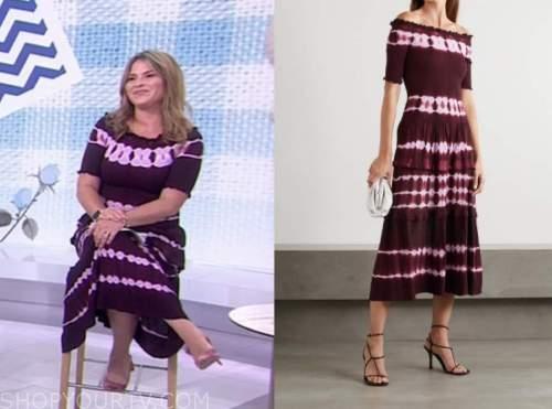 jenna bush hager, the today show, purple burgundy tie dye knit dress