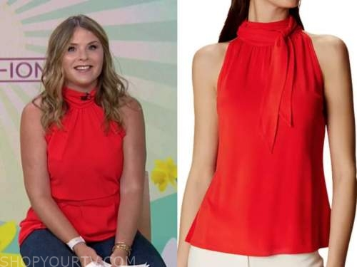 the today show, jenna bush hager, red mock neck halter top
