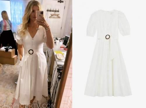 amanda kloots, the talk, white belted midi dress