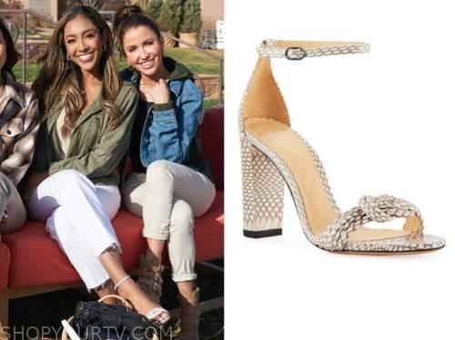 tayshia adams, the bachelorette, snakeskin knot sandals
