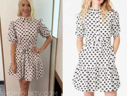 holly willoughby, this morning, black and white floral shirt dress