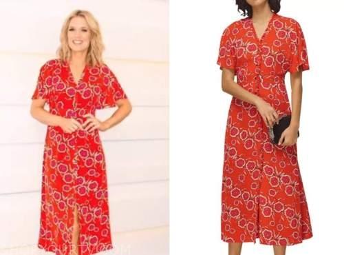 charlotte hawkins, good morning britain, red floral midi dress