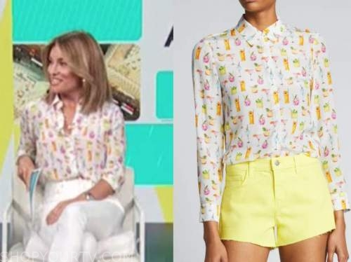 kit hoover, access daily, white cocktail printed shirt