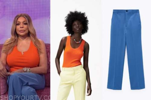 the wendy williams show, wendy williams, orange top, blue pants