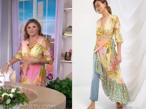 jenna bush hager, the today show, pink printed wrap maxi dress
