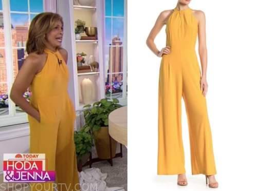hoda kotb, the today show, yellow twist halter jumpsuit