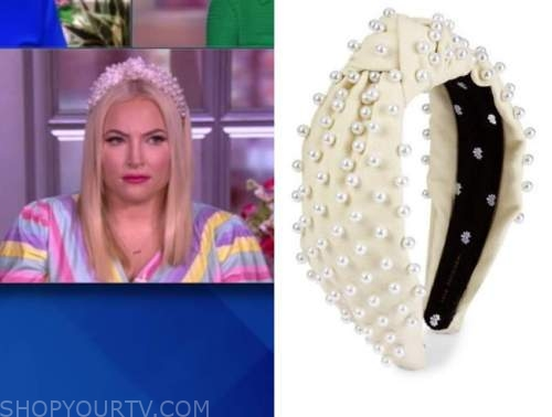 meghan mccain, the view, pearl embellished knot headband