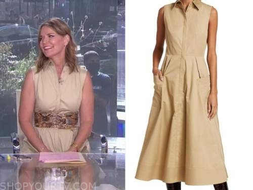 savannah guthrie, the today show, beige safari shirt dress