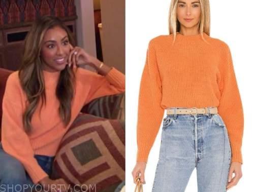 tayshia adams, the bachelorette, orange sweater