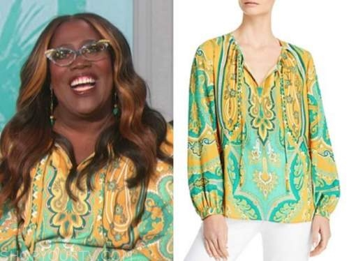 sheryl underwood, the talk, green and yellow printed blouse