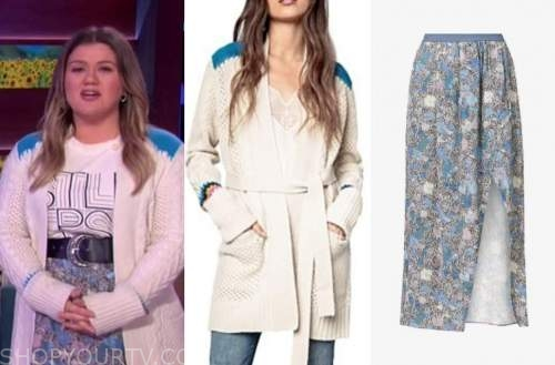 kelly clarkson, the kelly clarkson show, cable knit cardigan, blue floral skirt