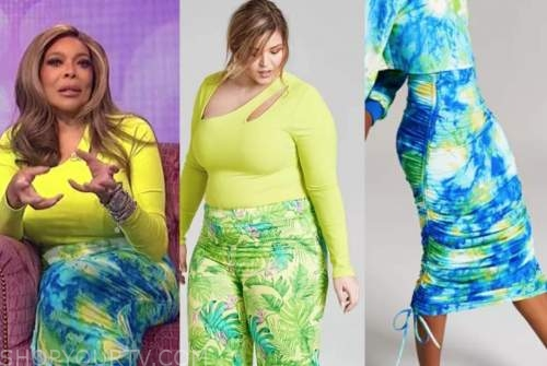 wendy williams, the wendy williams show, lime bodysuit, blue ruched skirt