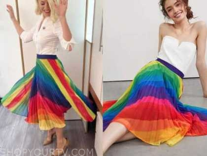 holly willoughby, this morning, rainbow pleated skirt