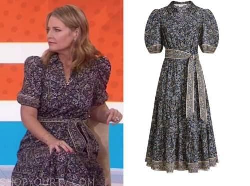 savannah guthrie, the today show, navy blue paisley dress