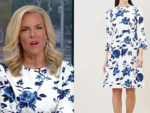 janice dean, fox and friends, blue and white floral dress