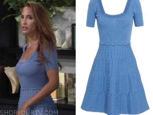lily winters, christel khalil, the young and the restless, blue knit studded dress